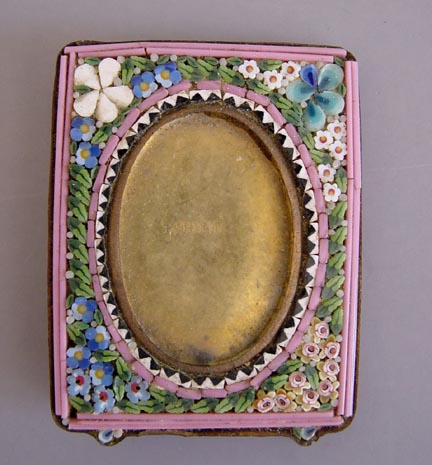 mosaic made in italy mosaic mini frame with flower motif including forget me nots and tiny pink flowers 2 78 by 2 12 view a32170