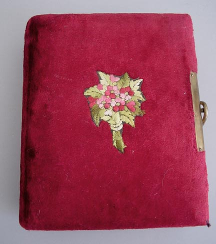 victorian deep red velvet album with embroidered pink floral