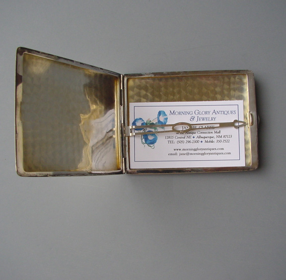 International sterling silver card case with a spring set clamp view view colourmoves