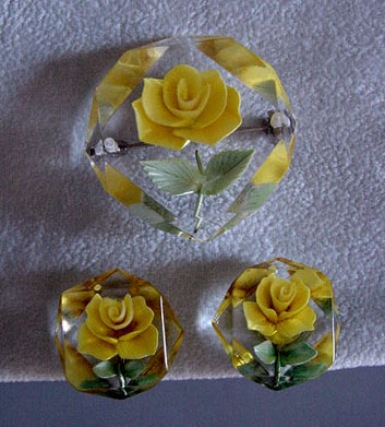 Lucite Pin with Yellow Rose