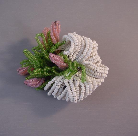 Hattie carnegie green white pink beads flower brooch morning details mightylinksfo
