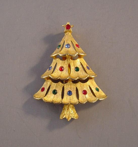 Jj Jonette Jewelry Christmas Tree Brooch With 3 Levels 24 00