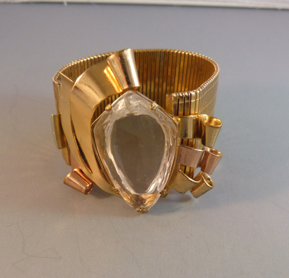 Coro 1941 Two Tone Gold Metal Retro Bracelet With Clear Faceted Unfoiled Center Stone 7 Wearable Length A 1 4 Wide Band