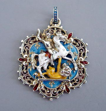 Morning glory collects enamel on sterling austro hungarian st george and the dragon pendant 1867 72 hallmarked including an a for vienna 1 13 wonderful quality with even aloadofball Gallery