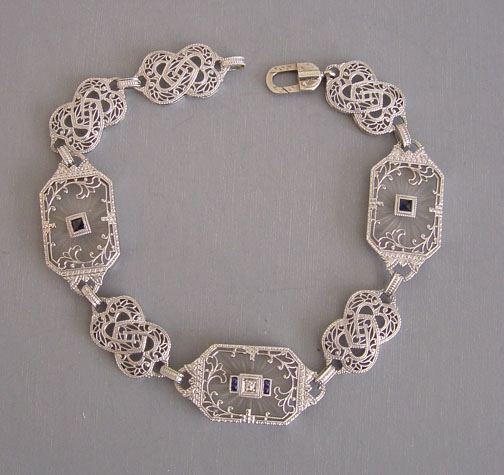 Edwardian 14 Karat White Gold Filigree Crystal Diamond And Sapphire Bracelet Circa 1915 7 1 8 By 2 This Is A Delicate Delightful Style Typical