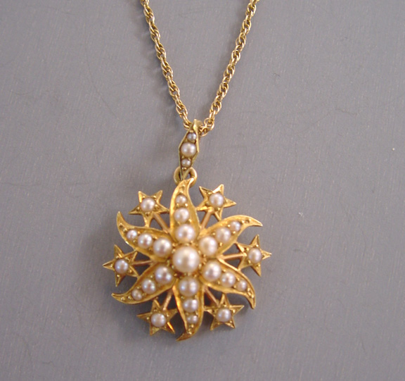 Edwardian 15ct gold and seed pearl pendant necklace with star edwardian 15ct aloadofball Gallery