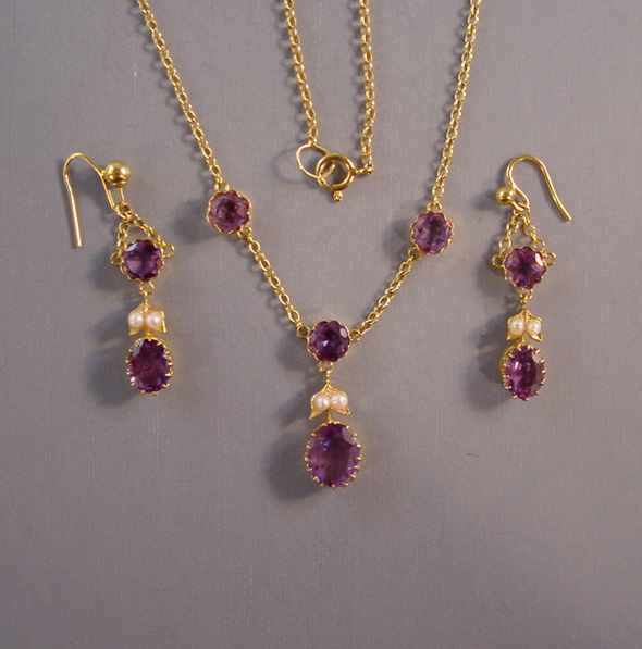 Edwardian 15 Karat Amethyst And Seed Pearl Necklace Earrings Set All In Ed Box
