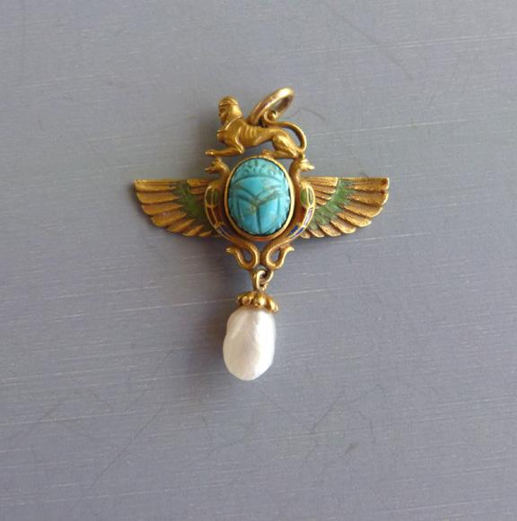 Egyptian 14k deco motif pendant scarab morning glory jewelry view view view aloadofball Choice Image