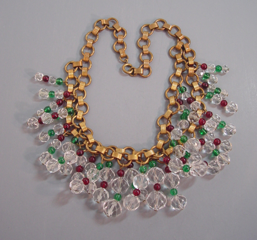 Miriam Haskell Hess Lush Necklace With Brilliant Faceted Clear And Round Red Green Glass Beads On A Gold Tone Two Level Book Chain Wearable Length 15