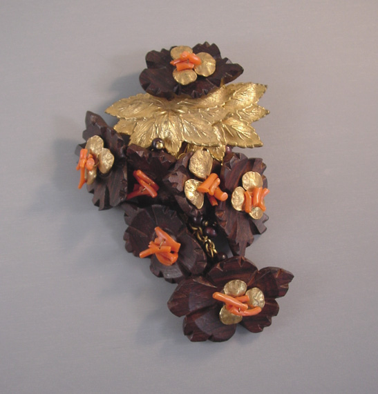 haskell hess dress clip with carved wood flowers stick coral