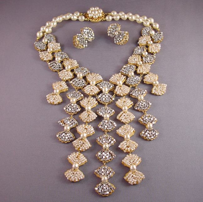 1a58ef5bbb44f MIRIAM HASKELL huge bib necklace and pierced earrings set - $1,998.00 -  Morning Glory Jewelry & Antiques