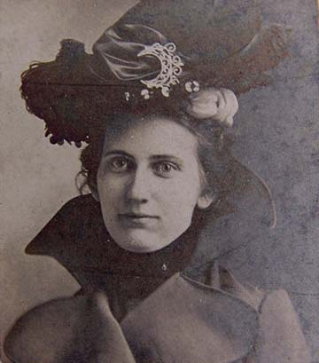 VICTORIAN lady wearing hat with feathers and cut steel crescent buckle.  Photo on board size 2-3 4