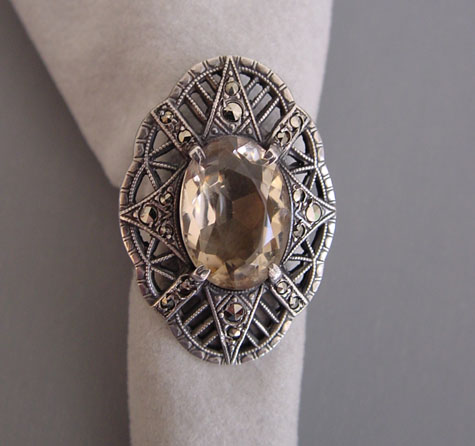 Ring That Is Even More Gorgeous In Person The Citrine Brilliant And Marcasites Set It Off Perfectly Has Illegible Marks Inside Band