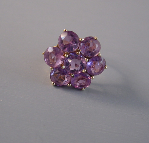 Ring Amethyst And 9 Carat Yellow Gold Hallmarked 375 Maker S Mark A Plus An Illegible Size 5 1 2 3 4 Along The Finger