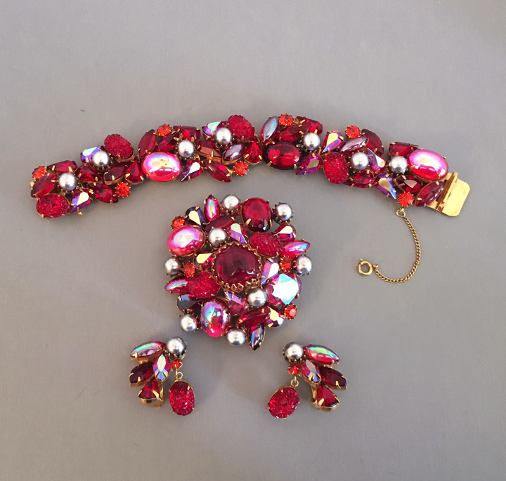 Kramer Brilliant Red Rhinestone Bracelet Brooch And Earrings Set With Aurora Borealis Gl Cabochons Lava Stones Artificial Pearls
