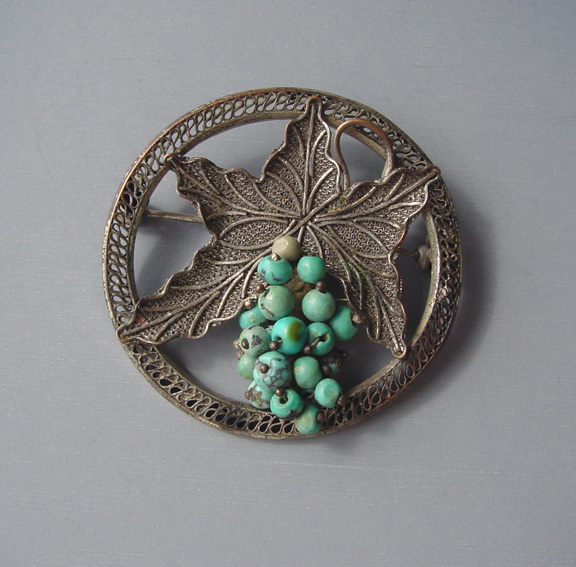 Chinese Gs Brooch With Small Turquoise Nuggets As Set In A Silver Tone Filigree Mesh Leaf And Circle Marked On The Back China 2