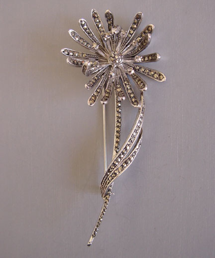 Sterling Silver And Marcasite Flower Brooch Marked 925 Maker S Mark F As Well Other Unidentified Marks 3 4 By 1 5 8
