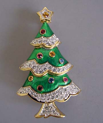 ... SWAROVSKI Christmas Tree Brooch In Green Enamel With Clear Rhinestone  Snow And Colored Rhinestone Ornaments In A Hand Polished Gold Plated  Setting, 2