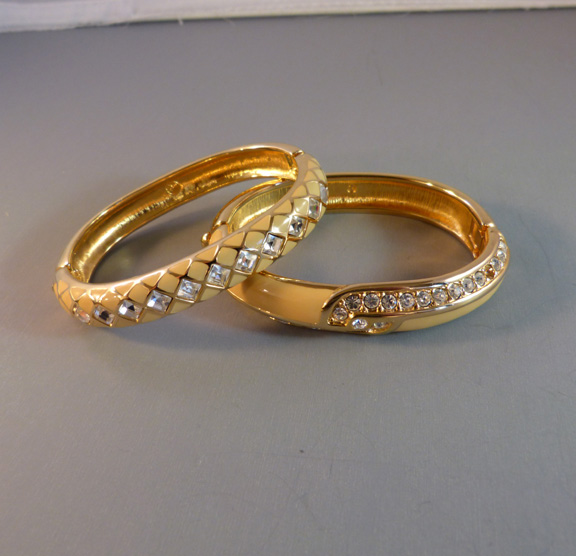 Swarovski Creamy Pale Yellow And Clear Rhinestones Bangles X 2 Each With The Swan Mark Inside Hinged 6 1 Around By 7 16 Wide For