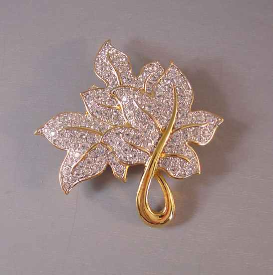 Swarovski Leaves Brooch With Clear Rhinestones Set In Gold Tone Swan And Copyright Marks On The Back 2 1 By 3 As Most