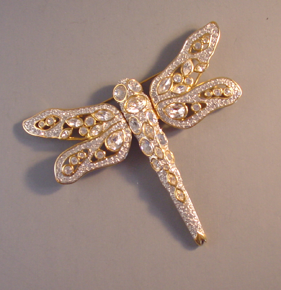 0f00eb7b7d6f9 SWAROVSKI clear rhinestone pave crystal dragonfly brooch - $328.00 -  Morning Glory Jewelry & Antiques