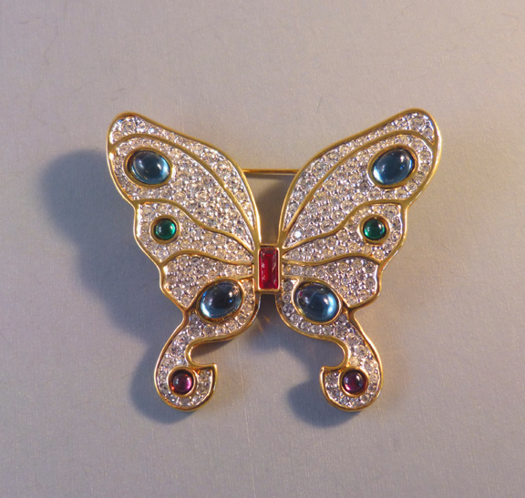 SWAROVSKI SAL crystal pave butterfly brooch with box - $258 00 - Morning  Glory Jewelry & Antiques