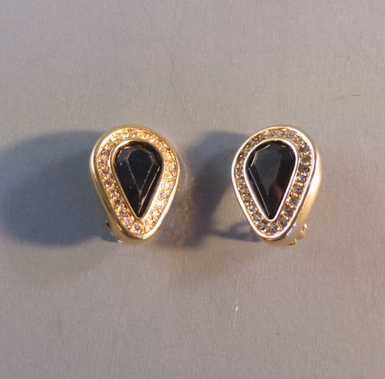 Swarovski Sal Edelweiss Marked Earrings With Black Teardrop Shaped Rhinestones Surrounded By Clear And All In A Hand Polished Gold Plated