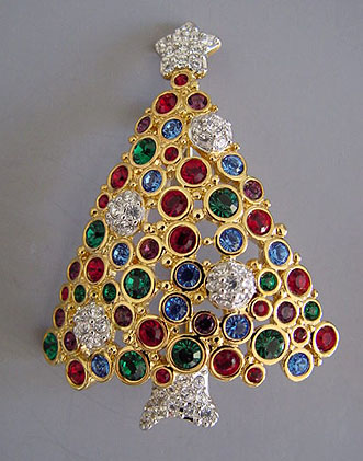 SWAROVSKI 1999 Christmas Tree Pin With A Star On Top, Circa 1998, 2 1/3
