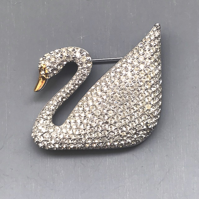 SWAROVSKI 100th Anniversary swan brooch from 1995 - $198 00 - Morning Glory  Jewelry & Antiques