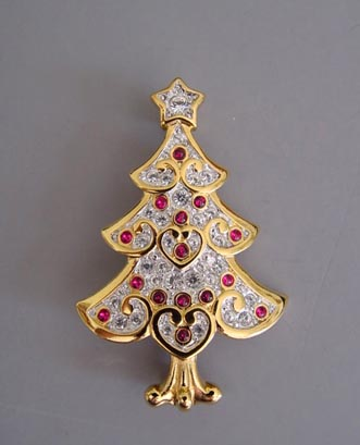 cbfb811fe81 SWAROVSKI Christmas tree brooch with clear pave with red tiny cabochon  ornaments, 1-3/4