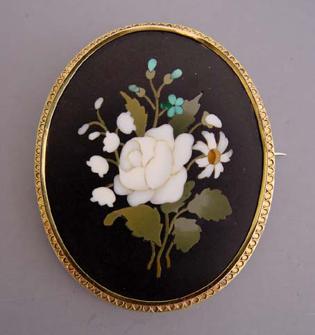 4e8697a6a VICTORIAN pietra dura oval brooch in 10k setting, white roses,  lily-of-the-valley, daisy and blue forget-me-nots with green leaves make up  the bouquet, ...