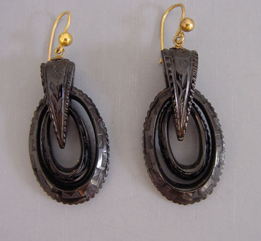 Victorian Whitby Jet Earrings Hand Carved Decorated Open Double Drops With Triangular Tops Each A Design The Portion Is 1 4 And