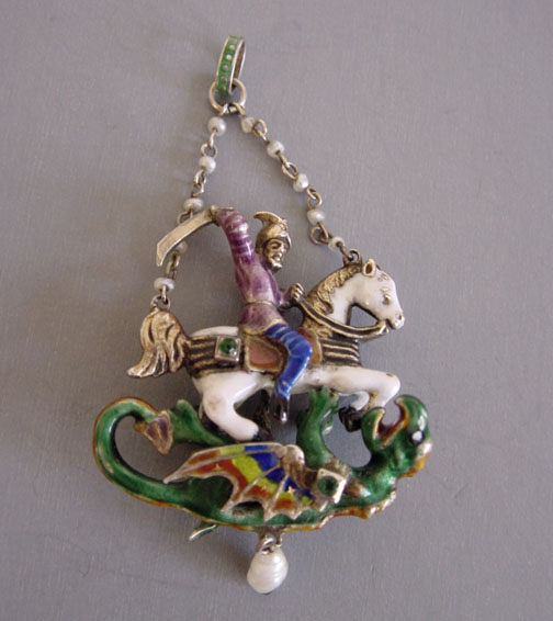 Morning glory collects st george and the dragon pendant polychrome enamel on sterling with a pearl drop and seed pearls chain and two green faceted stones c1890 aloadofball Image collections