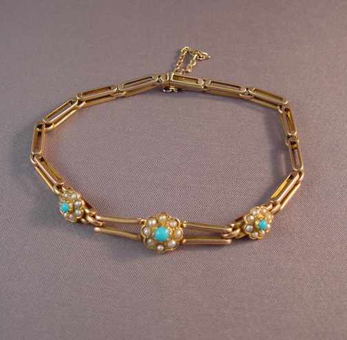 Victorian Persian Turquoise Seed Pearl And 9 Carat Yellow Gold Gate Bracelet Marked With A Hallmark 9ct On The Catch Safety Chain