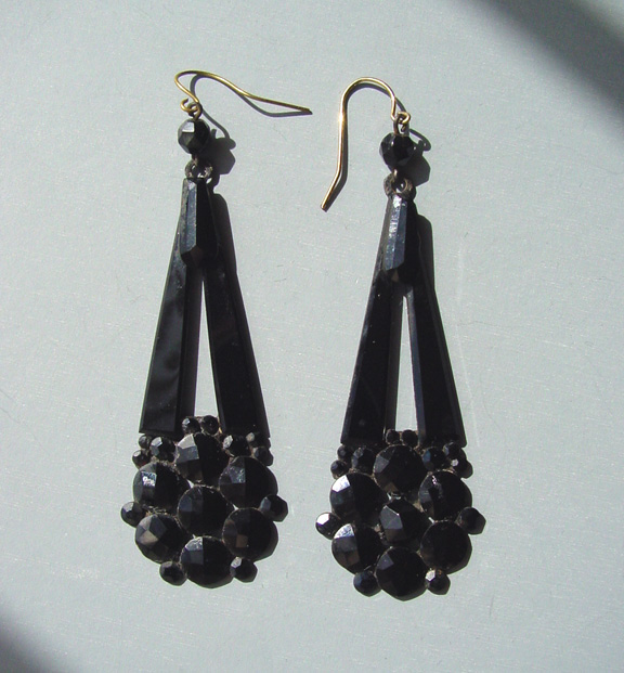 Victorian French Jet Black Gl On A Anned Metal Backing Long Earrings For Pierced Ears Entire Length 3 1 4 And Wide At The Bottom