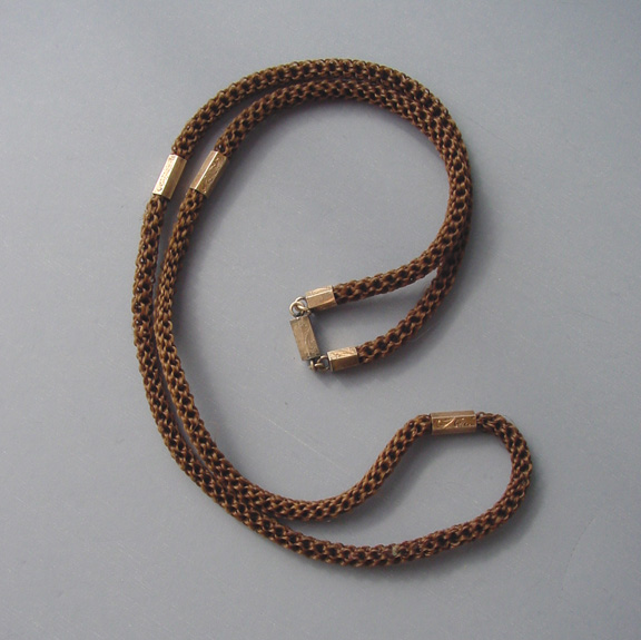 Hair necklaces : Victorian woven human hair necklace s morning glory