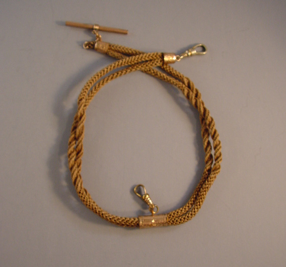 b658c3de4f5b3 VICTORIAN hand woven hair watch chain, dark blonde hair - $98.00 - Morning  Glory Jewelry & Antiques