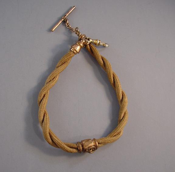 daf2b2bf6ba7b VICTORIAN woven hair watch chain with dark blond hair - $50.00 ...