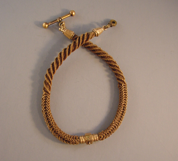 d60917d323273 VICTORIAN woven hair watch chain with brown hair - $128.00 - Morning Glory  Jewelry & Antiques