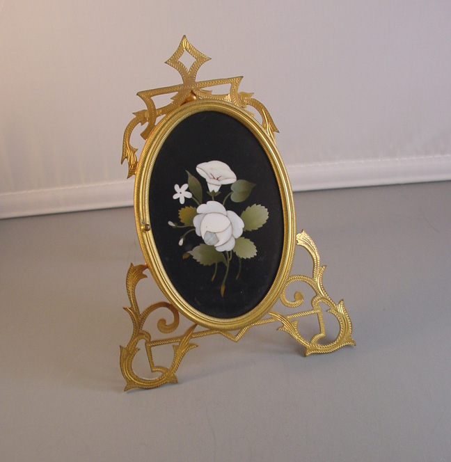 8e3979d8e VICTORIAN Pietra dura large picture frame with white marble rose, morning  glory and forget-me-not and green leaves. There is a flip-out stand on the  back.