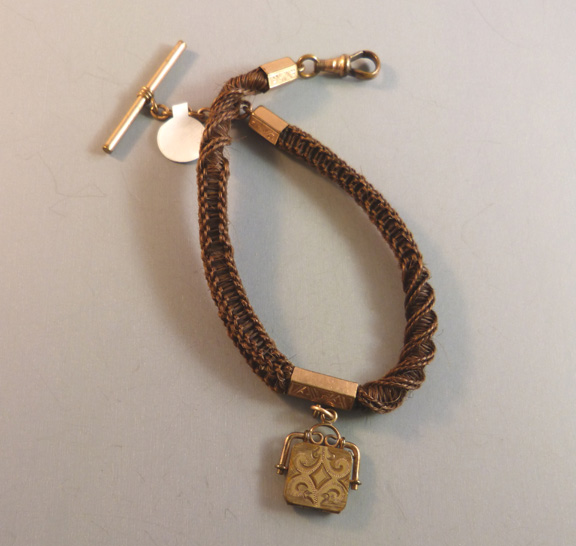 053af9e00f229 VICTORIAN woven hair watch chain and locket fob - $48.00 - Morning ...