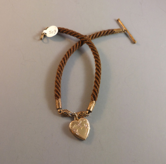 f078cbbd4a2a0 VICTORIAN woven hair watch chain with heart locket - $38.00 ...