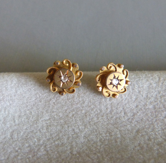 Victorian English Baby Child S Diamond Chip Earrings 9ct 188 00