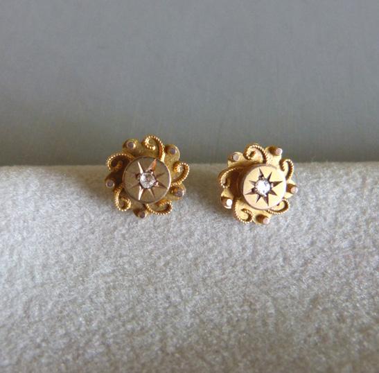 baby child s diamond chip earrings 9ct