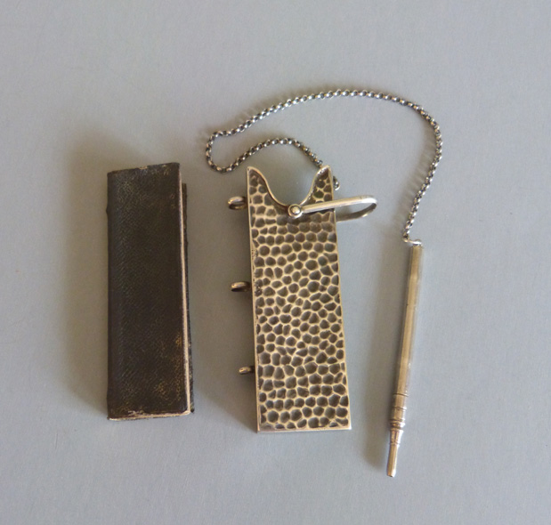With The Bound Notebook And Chain Attached Pencil Gold Edged Paper Inside Hallmarked On End For Sterling Birmingham 1890 A Maker S Mark Lf