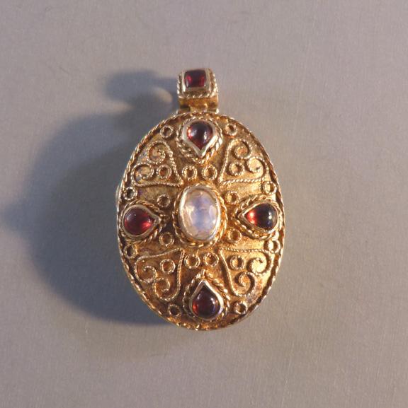 victorian locket am ltd gilt sterling crystal garnet morning