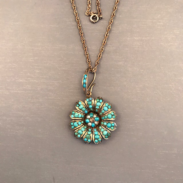 Victorian turquoise pendant with a tiny diamond in the center view view mozeypictures Gallery