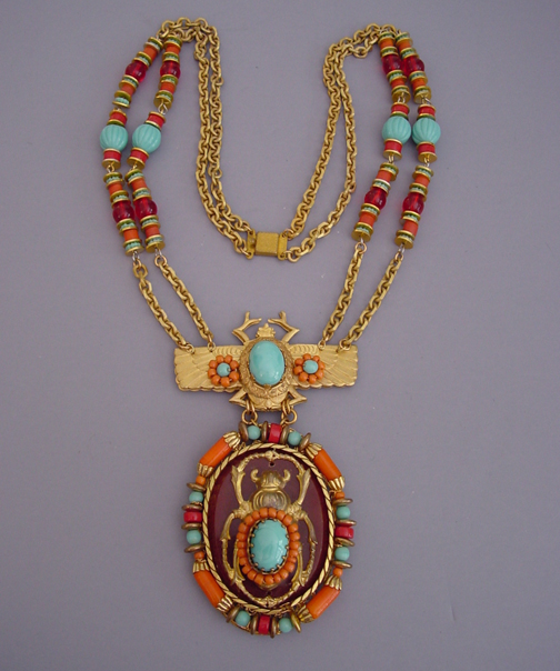 Morning glory antiques jewlery vrba egyptian pendant necklace with a 25 12 chain with a 5 by 2 34 pendant this is in the same style as the egyptian line he did for miriam aloadofball Choice Image