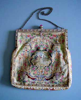 Austria Pe Point Evening Bag In A Fl Motif With Central Architectural Cartouche And Pink White Enameled Frame Accented Marcasites