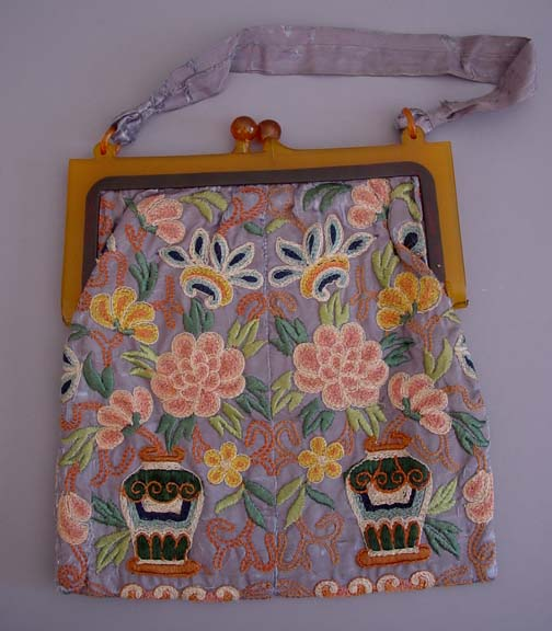 Purse Oriental Gray Purse Coral Green Yellow Brown Vases Flowers
